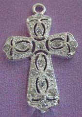 Special Alsatia cross charm with cut out pattern highlight. Suspended nicely with silver chain and black leather cord. Perfect for gift giving!