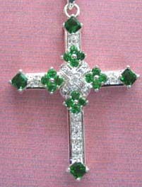Celtic cross pendant, and the most colorful. Sparkling Austrian crystals in royal pure clear and green highlight this large silver-plated pendant. Worn for inspiration and intuition!
